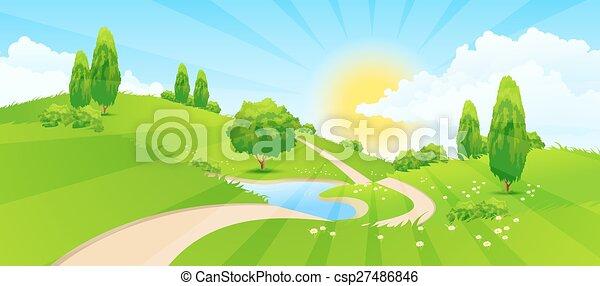 paysage vert, route - csp27486846