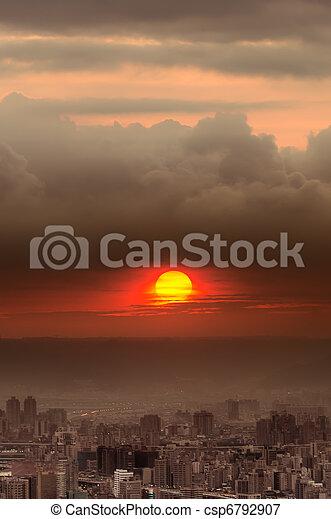 paysage, ville, coucher soleil - csp6792907