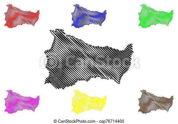 Paysandu Department (Departments of Uruguay, Oriental Republic of Uruguay) map vector illustration, scribble sketch Paysandu map - csp76714400