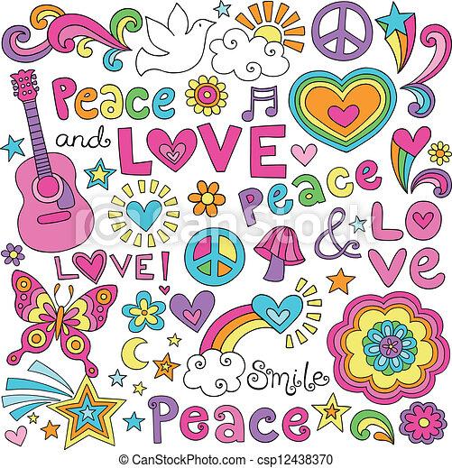 paz, amor, groovy, música, doodles - csp12438370