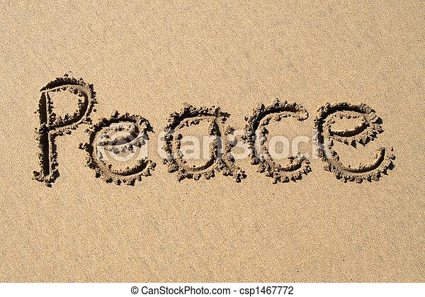 Paz, escrita en una playa arenosa. - csp1467772