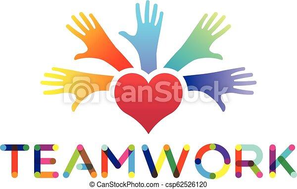 Manos de gente, unidad y paz, vector logo - csp62526120