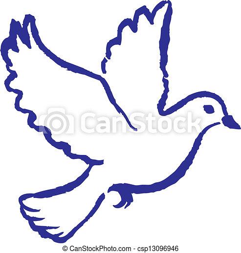 Populares Paz, pomba. Clássico, símbolo, paz, mão, desenhado, pomba eps  XX07
