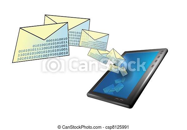 Tablet pc con correo y sms en 3D - csp8125991