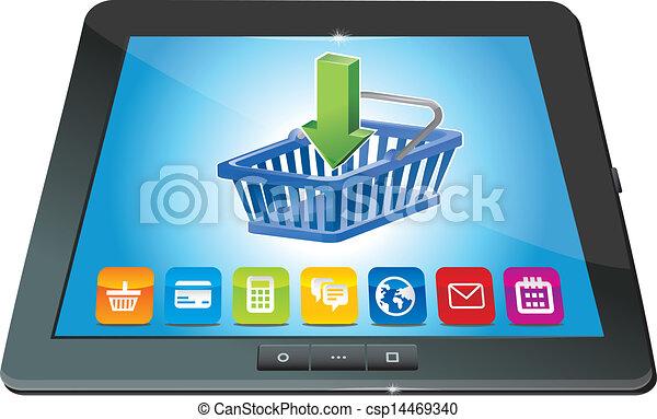 pc, carro shopping, tabuleta, ícone - csp14469340