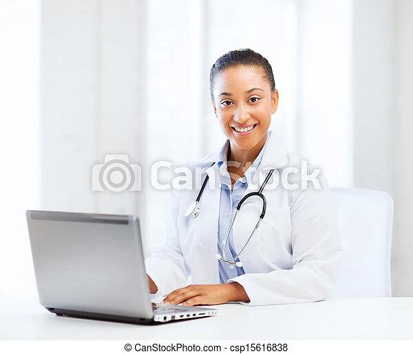 pc, computador portatil, doctora - csp15616838