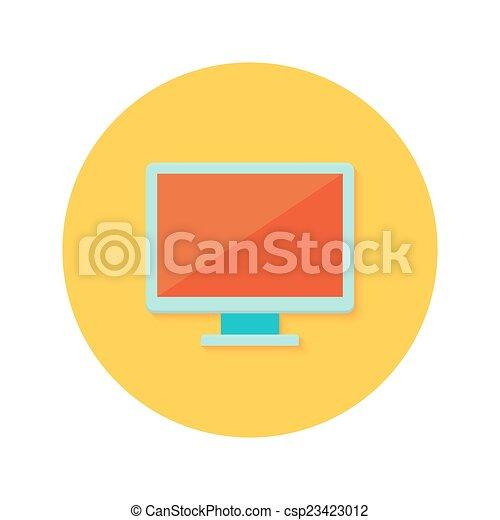 PC display icon over orange - csp23423012