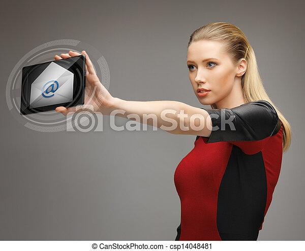 pc, femme, email, tablette, icône - csp14048481