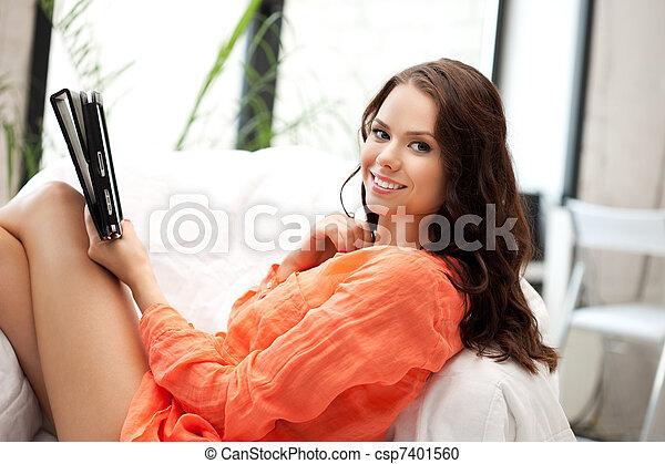 pc, femme, informatique, tablette, heureux - csp7401560