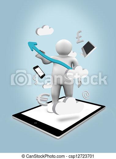 pc, figure, tablette numérique - csp12723701