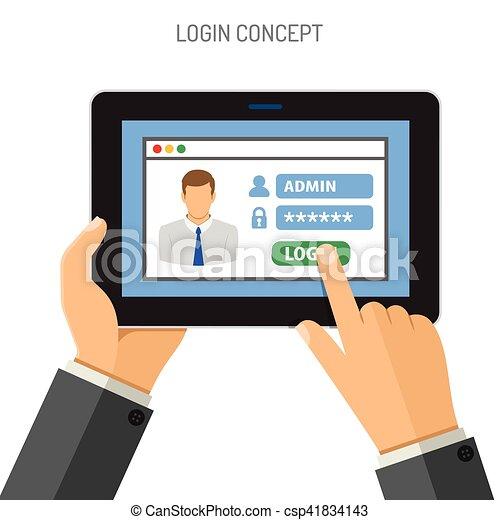 pc login concept tablette ipad plat vecteur vecteur eps rechercher des clip art. Black Bedroom Furniture Sets. Home Design Ideas