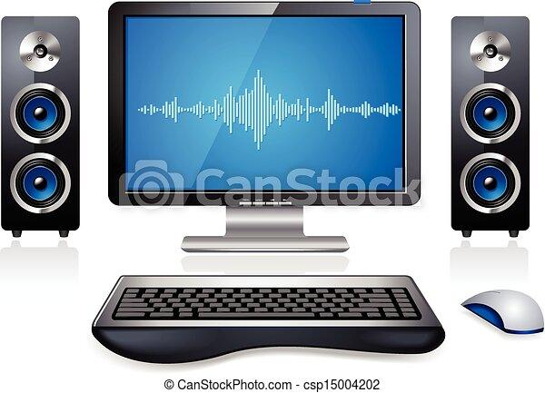 pc multimedia computer station . realistic multimedia