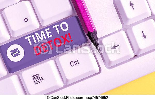 pc, nota, sobre, droga, tiempo, showcasing, o, papel, cuándo, fondo., empresa / negocio, actuación, parada, foto, consumidor, su, escritura, blanco, cuerpo, detox., usted, purificar, teclado, toxins - csp74574652