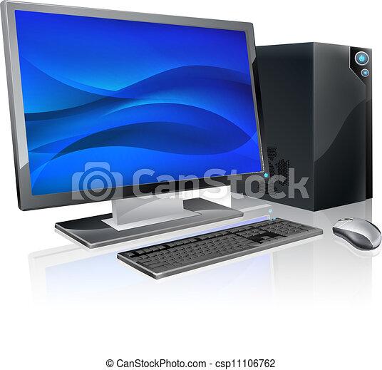 pc, station travail, informatique, bureau - csp11106762