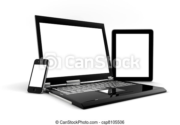 pc, téléphone, tablette, isolé - csp8105506