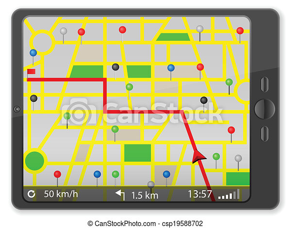 PC tablet with navigation map - csp19588702