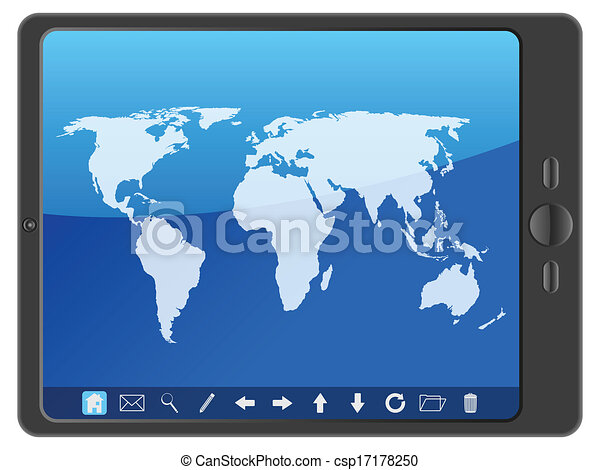 PC tablet with world map - csp17178250