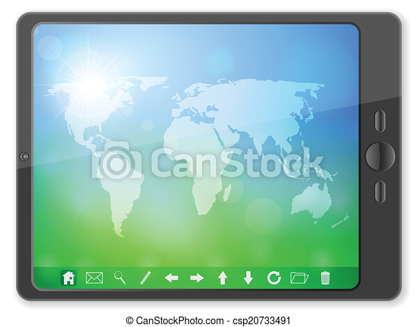 PC tablet with world map - csp20733491