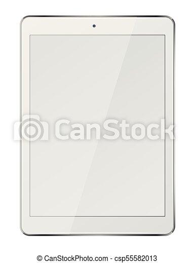 pc tablette, écran, isolé, arrière-plan., informatique, vide, blanc - csp55582013