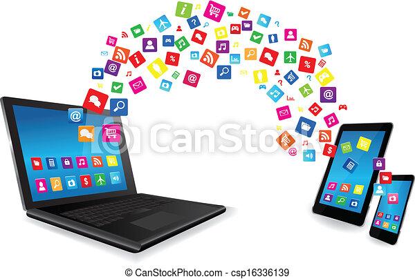 pc tablette, apps, ordinateur portable, téléphone, intelligent - csp16336139