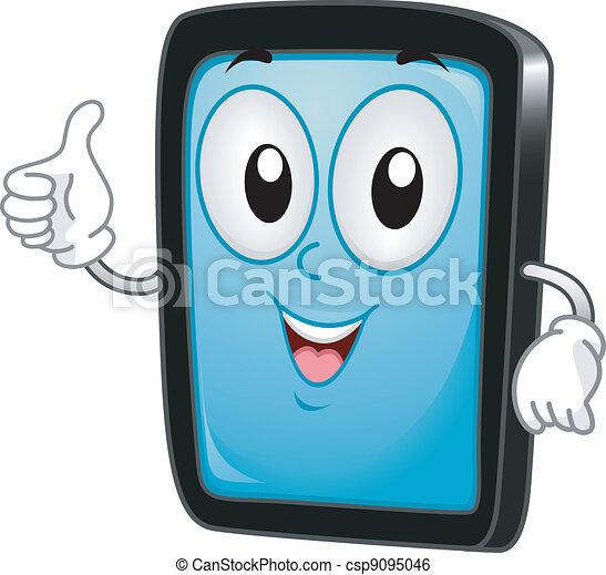 pc tablette mascotte tablette abandon illustration pc pouces mascotte. Black Bedroom Furniture Sets. Home Design Ideas