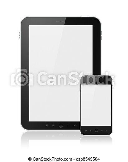 pc tablette, mobile, isolé, téléphone, numérique, intelligent - csp8543504