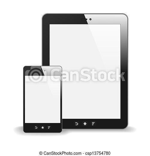 pc tablette, réflexion., vide, isolé, illustration, screen., téléphone, vecteur, arrière-plan., réaliste, blanc, intelligent - csp13754780