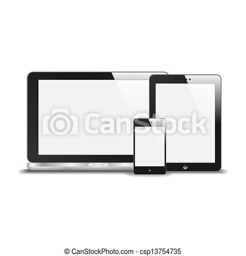 pc tablette, réflexion., vide, isolé, illustration, screen., téléphone, vecteur, cahier, arrière-plan., réaliste, blanc, intelligent - csp13754735