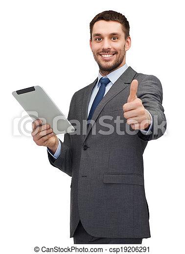 pc, uśmiechanie się, komputer, buisnessman, tabliczka - csp19206291