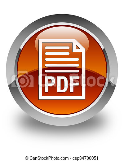 PDF document icon glossy brown round button - csp34700051