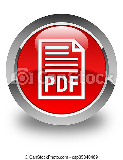 PDF document icon glossy red round button - csp35340489