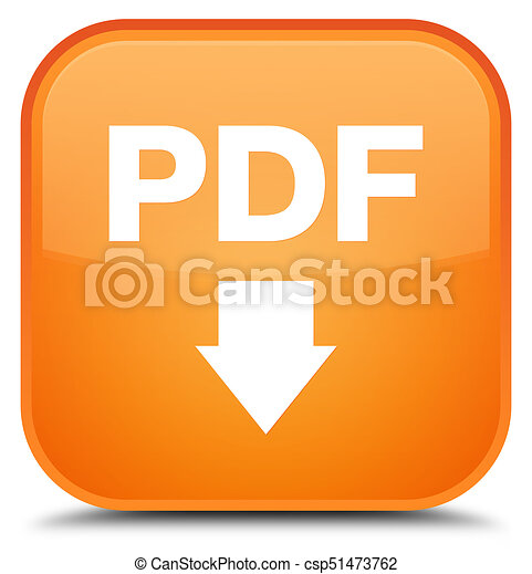 PDF download icon special orange square button - csp51473762