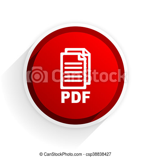 pdf flat icon with shadow on white background, red modern design web element, - csp38838427