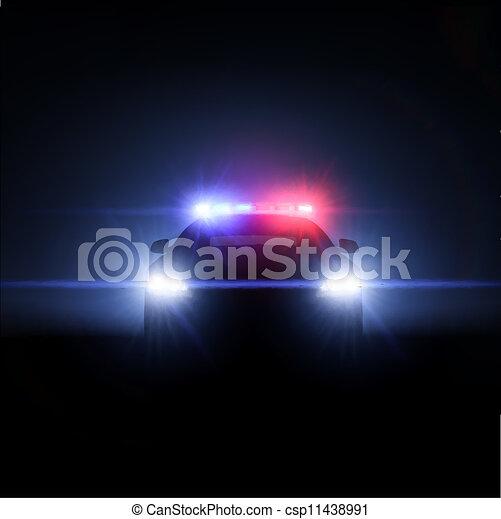 pełny, policyjny wóz, lights., ilustracja, wektor, szyk - csp11438991