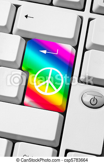 Peace And Love Message Keyboard With Peace And Love Symbol On