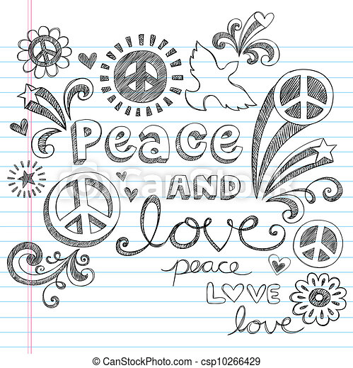 Peace and Love Sketchy Doodles Set - csp10266429