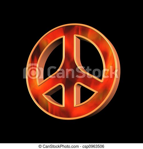 Peace And Love Symbol Over Black Background Stock Illustration