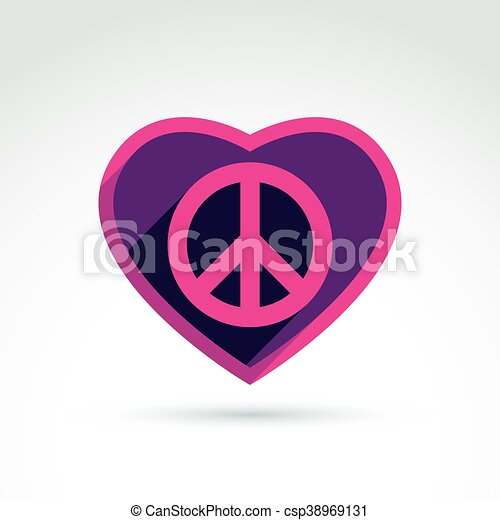 Peace And Love Theme Antiwar And Love Vector Icons Loving Heart