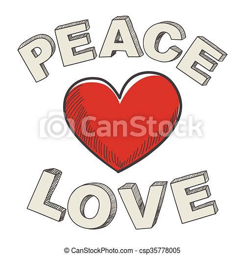 Peace And Love Hand Writing Of Peace And Love Text Design With