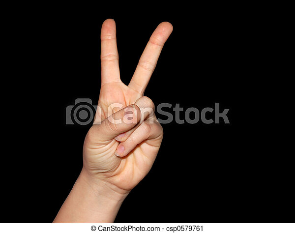 Peace And Victory Sign Isolated On Black With Clipping Path Included