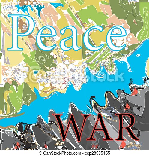 Illustration of words peace and war written over a map clipart peace and war csp28535155 voltagebd Choice Image