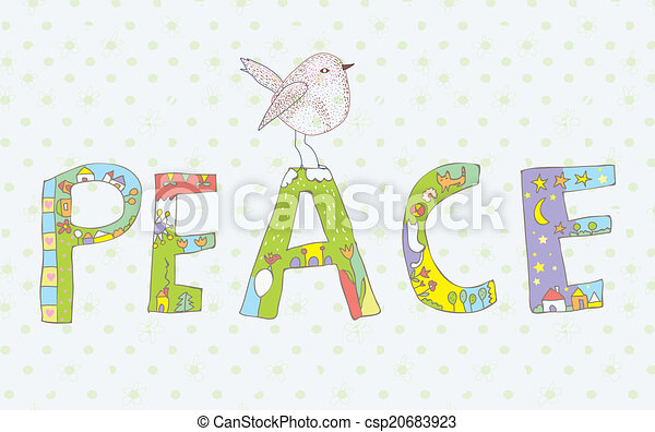 Peace background with sign and bird cute design - csp20683923