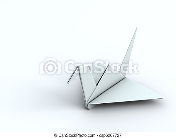 Peace Concept Origami Crane Paper Bird 3d Illustration