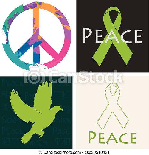 Peace Set Of Colored Backgrounds With Different Peace Symbols