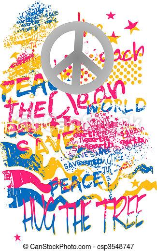 peace graffiti art banner - csp3548747