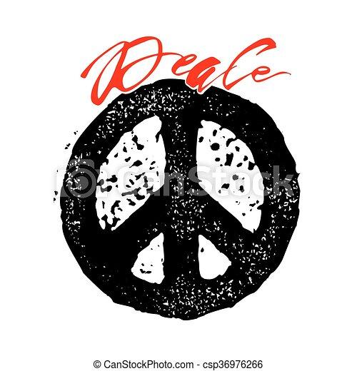 Peace hand drawn linotype made symbol. - csp36976266