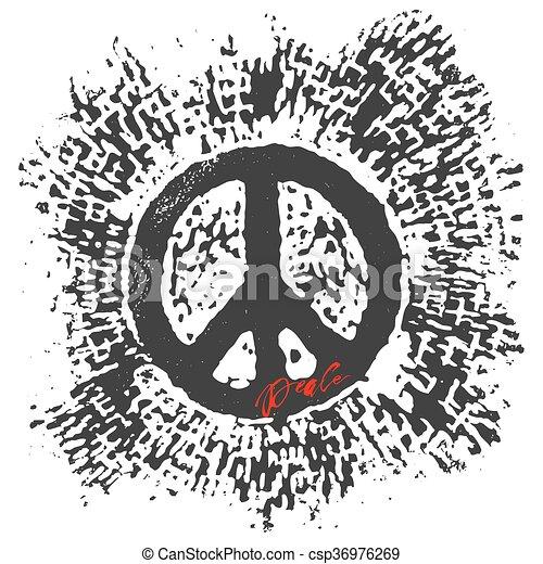 Peace hand drawn linotype made symbol. - csp36976269