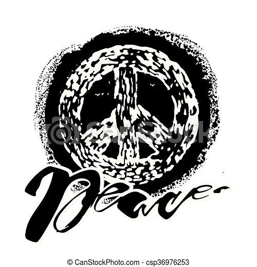 Peace hand drawn linotype made symbol. - csp36976253