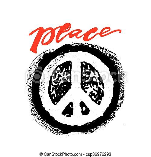 Peace hand drawn linotype made symbol. - csp36976293