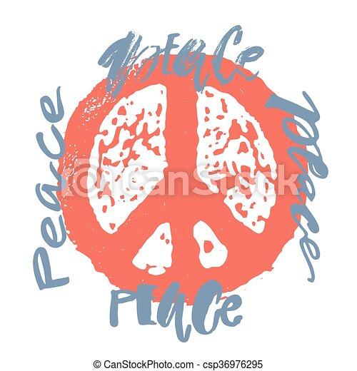 Peace hand drawn linotype made symbol. - csp36976295